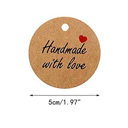 100 PCS Kraft Gift Tags 5 cm White 5 cmHand Made with Love Label Birthday Luggage Round Tags Paper Wedding Labels Brown Hang Tag with 30 Meters Jute Twine