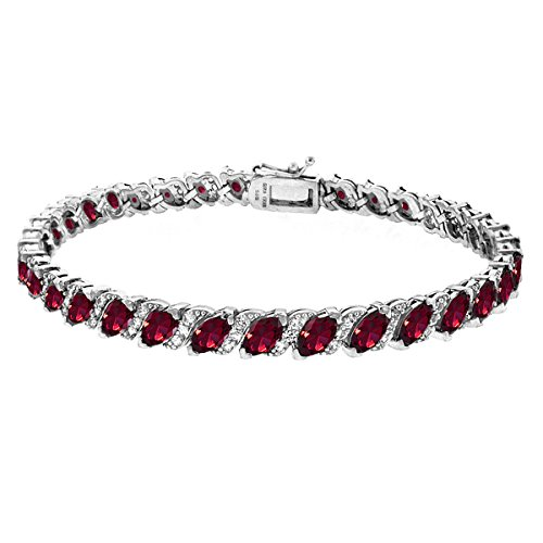 GemStar USA Sterling Silver Created Ruby Marquise-Cut Tennis Bracelet with White Topaz ()