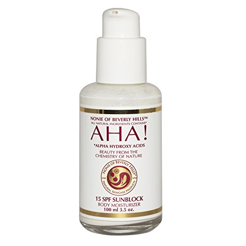 All Natural Sunblock, Sunscreen Lotion 15 SPF. Contains AHA, Vitamins A, B, C & E. Made in USA. 3.5 Oz By Nonie Of Beverly Hills