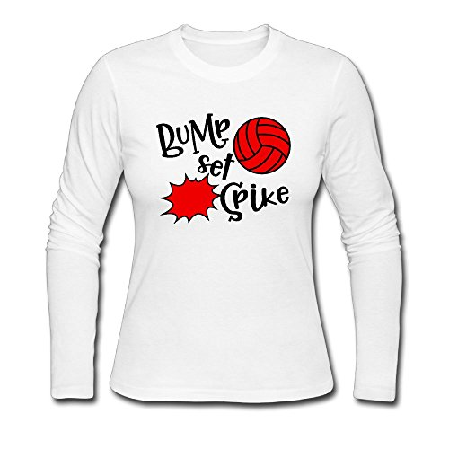 Qear Bump Set Spike Volleyball Women's Long-Sleeved Round Neck T-Shirts White XXL -