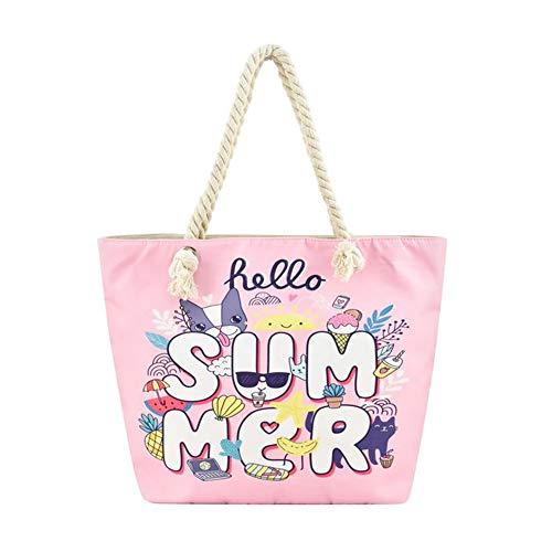 Large Beach Travel Canvas Tote Cute Shoulder Shopping Bag, Hello Summer-2 ()