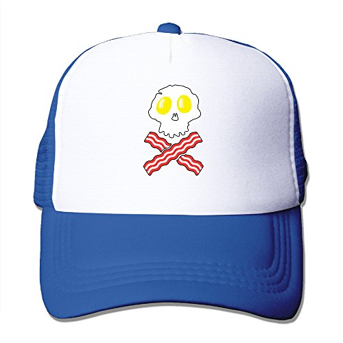Bacon And Egg Costume Accessories (Lihed Bacon And Eggs Skull Trucker Caps Golf Mesh Caps RoyalBlue)