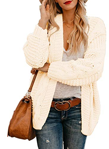 Cream Knit Sweater - Womens Cardigans Ladies Autumn Warm Cozy Open Front Long Sleeve Chunky Cable Knit Ribbed Cardigan Sweater Large 12 14 White Cream
