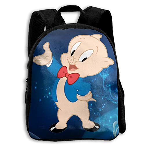 Fashion Space Porky Pig Classic Pose Kid Boys Girls Toddler School Backpack Bags Lightweight