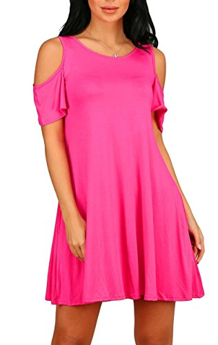 (PCEAIIH Women's Summer Cold Shoulder Tunic Top Swing Dresses Loose T-Shirt Casual Dress with Pockets (Small, Rose))