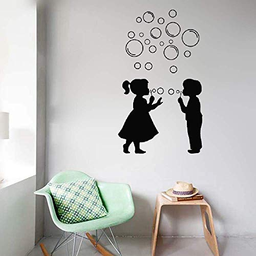 Dozili Vinyl Wall Decal Sticker Wall Art Quote Decor Wall Sticker Fille Et Gar§on Avec Des Bulles Pour La Salle De Bain Girl and Boy with Bubbles for Bathroom 32.3