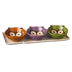 Grasslands Road 4-Piece Faux Bois Serving Tray with Owl Bowls, 12-Inch