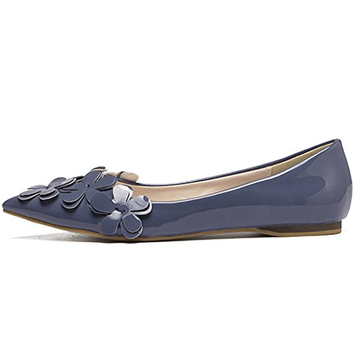 QZUnique Womens Casual Pointed Plain Ballet Comfort Soft Slip On Flats Shoes Blue uQib7EY