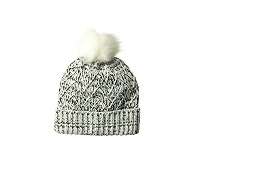 ELLEN TRACY Women's Lurex & Marled Yarn Pull On Hat with Cuff, White, One Size
