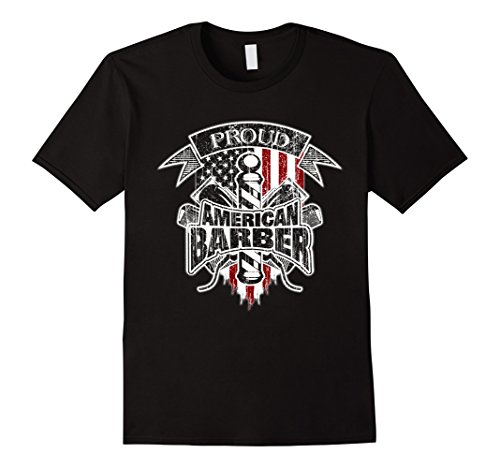 Men's Barber T-Shirt American Flag Barber Pole and Hair C...