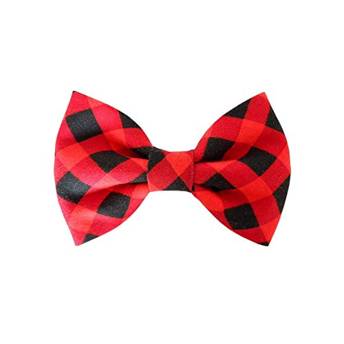 THE DOK Black Red Plaid – Dog Cat Pet Bow Tie Bowtie Collar Accessory for Large Dogs Handcrafted Bow Tie Christmas New…
