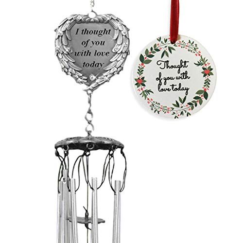 BANBERRY DESIGNS Memorial Windchimes Thoguht of You with Love Today Poem - Keepsake in Loving Memory Christmas Ornament Wreath Design (Ornaments Christmas Memory Loving)