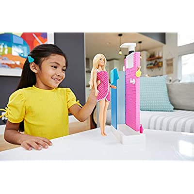 Barbie Doll and Furniture Set, Bathroom with Working Shower and Three Bath Accessories, Gift Set for 3 to 7 Year Olds: Toys & Games