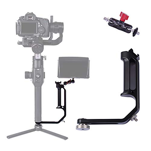 DF DIGITALFOTO Universal L Bracket Handle Gimbal Accessories,Mounting Monitor/Microphone with Bean Grip Compatible with DJI Ronin S,Zhiyun Crane V2/M/2,Moza Air 2,Feiyutech AK2000/4000 and More Gimbal