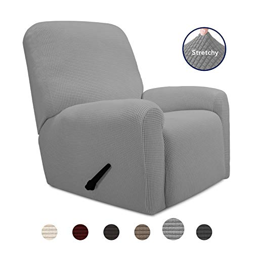 PureFit 4 Pieces Recliner Stretch Slipcover with Pocket Couch - Spandex Jacquard Soft Fitted Sofa Couch Cover, Washable Furniture Protector with Non Skid Elastic Bottom for Kid (Recliner, Light Gray)