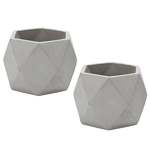 MyGift Modern 4-Inch Gray Geometric Cement Succulent Planter Pots, Set of 2