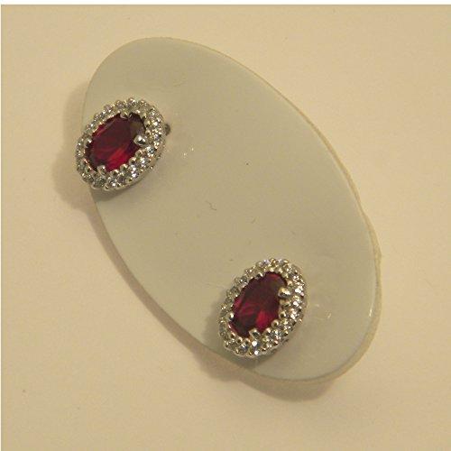 Boucles d'oreilles papillon or blanc 18cts-Modèle Princesse/modèle grand-mère-Pierre Zircone rouge et zirconium blancs