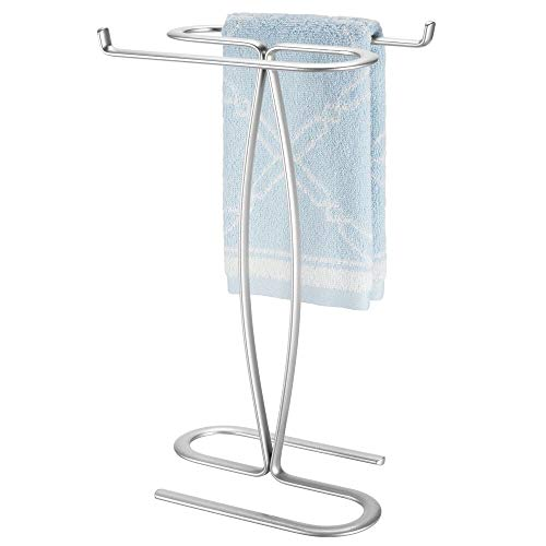 mDesign Decorative Modern Metal Fingertip, Hand Towel Holder Stand - for Bathroom Vanity Countertops to Display and Store Small Guest Towels - 2-Sided, 14