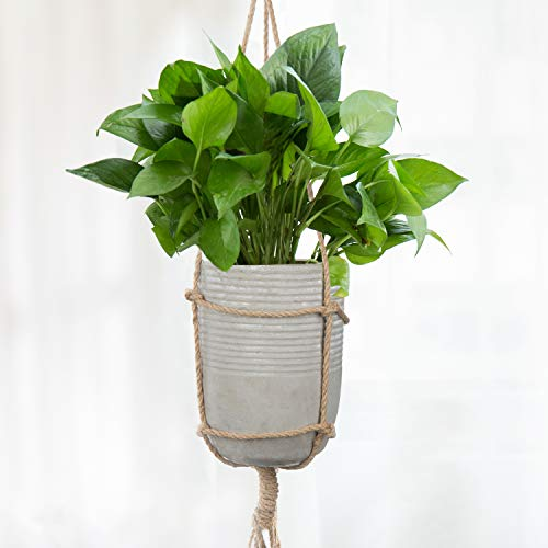 (Hanging Clay Ribbed Cylindrical Pot with Removable Twisted Macrame Jute Rope)