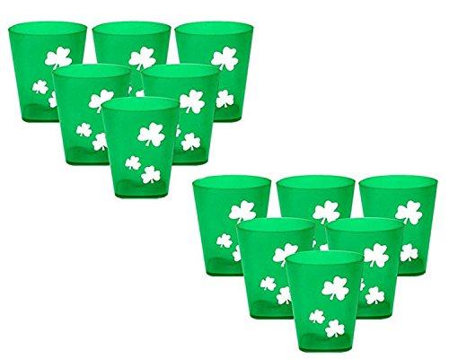 St Patricks Day Shamrock Plastic Shot Glasses - Set of 12