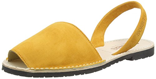 Solillas Azafran, Sandalias con Correa de Tobillo para Mujer Amarillo (Yellow)