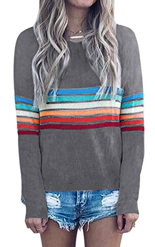 Women's Sweater Rainbow Colorful Striped Sweaters