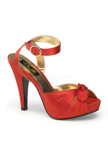 Pleaser Women's Bettie-04/R Ankle-Strap Sandal,Red Satin,6 M (Satin Ankle Wrap Sandal)