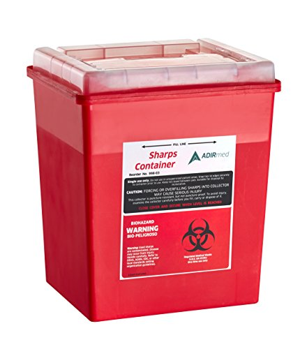 AdirMed Sharps & Needle Biohazard Disposal Container - 8 Quart - Flip-Open Lid - 1 Pack