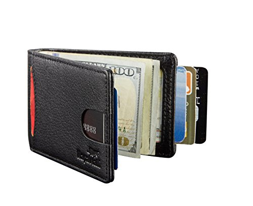 NapaWalli RFID Blocking Bifold Slim Genuine Leather Thin Minimalist Front Pocket Wallets for Men Money Clip Made From Full Grain Leather (Jet Black)
