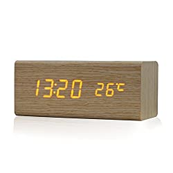 Sound Control USB Solid Wooden Desk Bedside Digital Alarm Clock Tempreture Display Orange Light (Wooden)