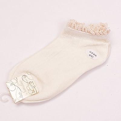 Maivasyy 5 paires de chaussettes Printemps et automne filles mignonnes Fibre de bambou Déodorant Dentelle Chaussettes bateau blanc laiteux,