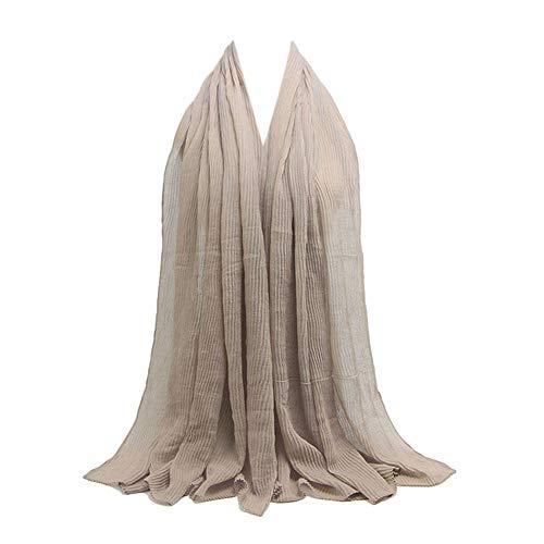 XILALU Womens Lightweight Premium Viscose Maxi Crinkle Cloud Hijab Scarf Cotton Blend Shawl Islam Muslim Jersey Scarves ()
