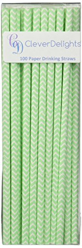 UPC 634949315507, CleverDelights Biodegradable Paper Straws - Mint Chevron - Box of 100