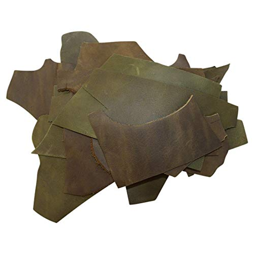 Hide & Drink, Cow Leather Chips & Scraps, Trimming Rustic Pieces (1.8mm), Craft & Workshop (12 Ounce) :: Dark Jade