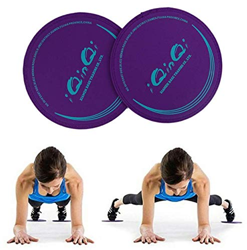 iQinQi Core Exercise Sliders Fitness Workout Sliding Discs Use on Hardwood Floors, Total Body Gym Exercise Equipment for Home, Travel (Purple) (Glider Exercise Equipment)