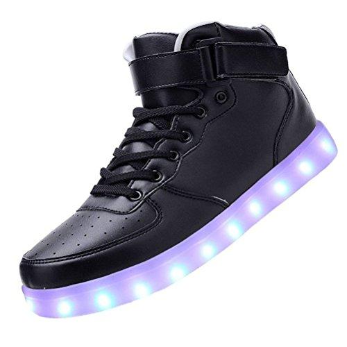 (présent: Petite Serviette) Junglest® Femmes Charge Usb Conduit Chaussures De Sport Noir Clignotant Sneake