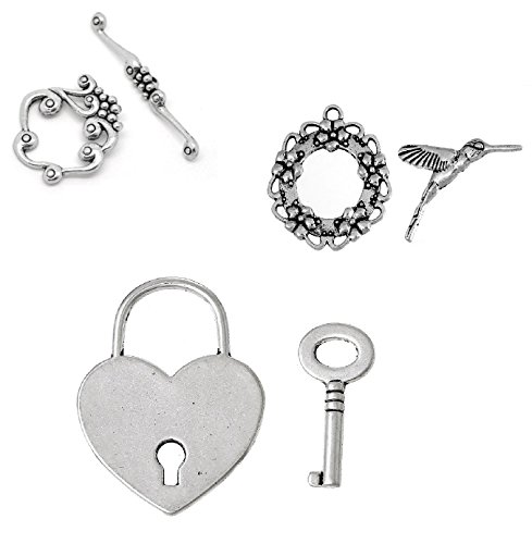 Each Toggle (30 Sets Toggle Clasps (10 of each - Grape Vine, Hummingbird, Heart Lock & Key) - DIY Jewelry Making Bracelet or Necklace)