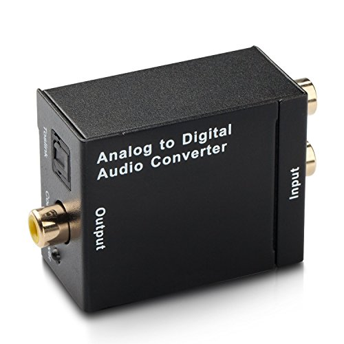 Cingk RCA L/R Analog To Digital Optical SPDIF Coaxial Audio Converter Adapter with Toslink Cable and Power Adapter (Optical To Rca Cable)