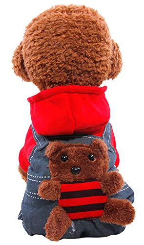 MaruPet Autumn/Winter Overall Fleece Warm Four-Legs Jumpsuit Pet Cute Bear Winter for Teddy, Pug, Chihuahua, Shih Tzu, Yorkshire Terriers, Papillon Red XL]()
