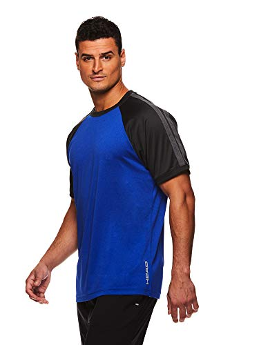 HEAD Men's Breaker Crewneck Gym Tennis & Workout T-Shirt - Short Sleeve Activewear Top - Breaker Royal Heather, - T-shirt Intensity Soccer