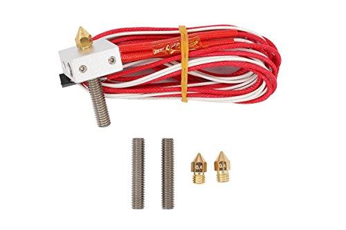 1.75mm 12V 0.4mm Filament Direct Feed Nozzle Hot End Assembled Extruder Kits + 2 pcs Extruder Tube + 2 pcs Brass Nozzle for RepRap Anet A6 A8 3D Printer