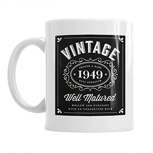 70th Birthday Vintage 1949 Gift Mug Present for 70 Men Women 10oz Coffee Mug (1949 Vintage Print)