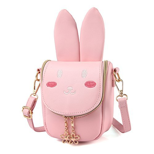 - Pinky Family Super Cute Girls Purse Bunny Ear Shoulder Bag Messenger Bag Girls Gifts (pattern 1 pink)