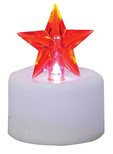 CWI Gifts Star Timer Tea Light with White Base (Set of 2), 2.5