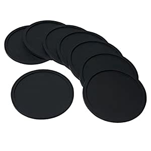 Swity Home 10 Pack Silicone Drink Coasters, Great Grip for any Occasion & Drinks, Set of 10 (Black)