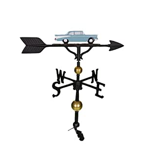 Montague Metal Products 32-Inch Deluxe Weathervane with Teal Classic Car Ornament