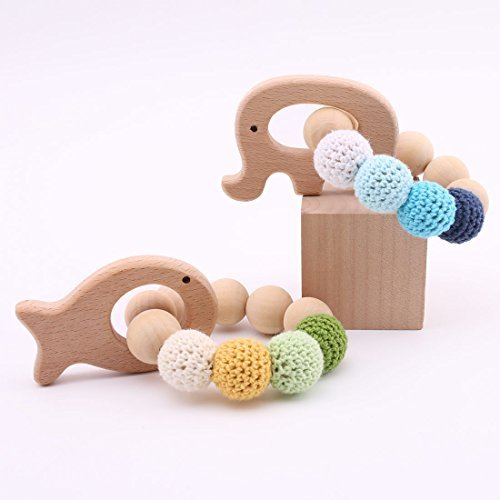 Shaped Natural - 2pc Baby Wooden Teethers Organic Elephant Fish shaped Teething Chewable Toy Montessori Baby Teething Safe and Natural Baby Shower Gift