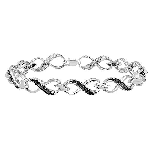 0.75 Carat (ctw) Sterling Silver Round Black Diamond Ladies Infinity Heart Tennis Link Bracelet 3/4 CT by DazzlingRock Collection