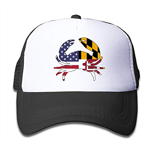 America Maryland Flag Crab 2 On Boys and Girls Trucker Hat, Youth Toddler Mesh Hats Baseball ()