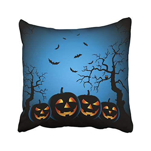 Emvency Bats Halloween Night with Grinning Pumpkins on Blue Black Back Event Evil Ghostly Grin Haunted Throw Pillow Covers 18x18 inch Decorative Cover Pillowcase Cases Case Two -
